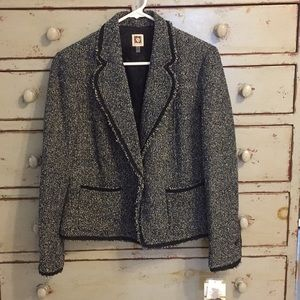 NWT Anne Klein Women's One Button Tweed Jacket